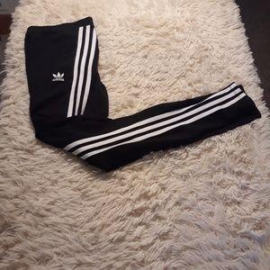 Adidas leggings women small black trefoil 3 stripe